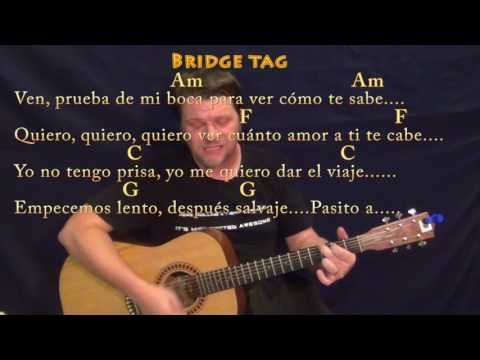 Despacito (Luis Fonsi/Justin Bieber) Strum Guitar Cover Lesson in Am with Chords/Lyrics