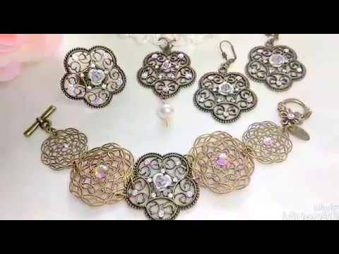 Filigree Flower Crystal AB Jewelry Set