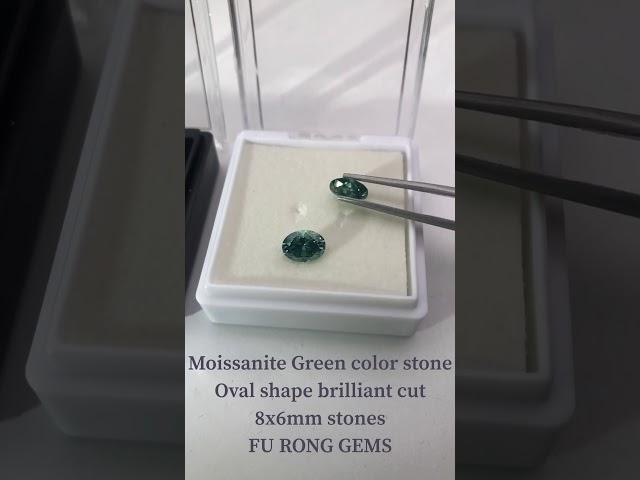 Loose Moissanite Green color 8x6mm oval shape brilliant cut diamond stones wholesale