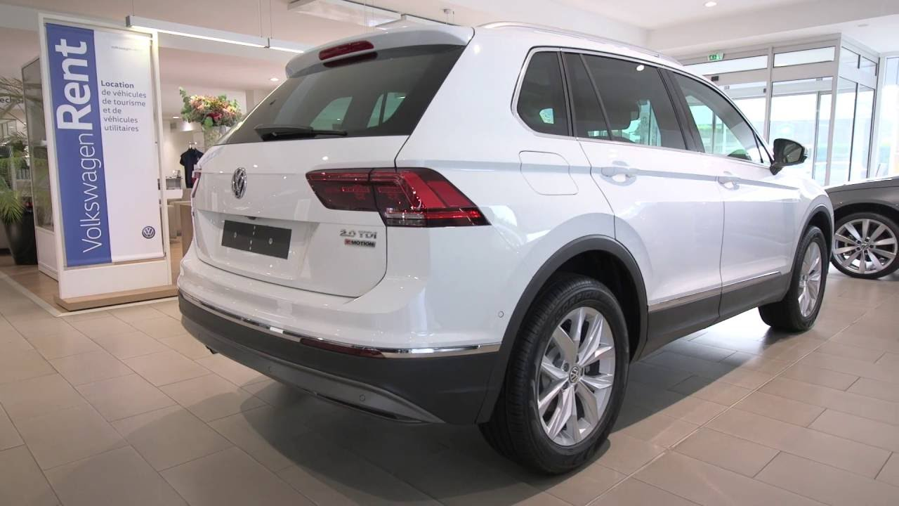 volkswagen tiguan neuf 2 0 tdi 150 bluemotion technology dsg7 4motion carat blanc pur youtube. Black Bedroom Furniture Sets. Home Design Ideas