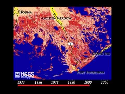 Louisiana Coastal Land Loss Simulation 1932-2050