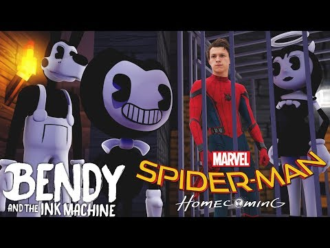 Minecraft BENDY AND THE INK MACHINE - SPIDERMAN HOMECOMING KISSES ALICE ANGEL & BENDY KIDNAPS THEM!!