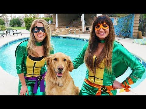 Ninja Turtle Girl SAVES Sammie From Giant Rat!
