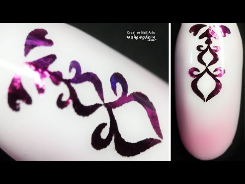 Nail art pink ornament foil water decal design with regular polish. Easy how to tutorial
