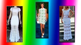 PLETENA MODA.Белое ажурное  платье (crochet)