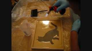 Framed Cat Scroll Saw Cutout.