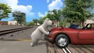 bernard the polar bear hes driving a car