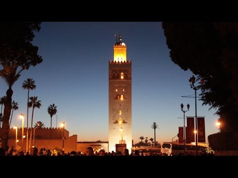 800 year old Koutoubia Mosque Adhan Call to Prayer Marrakech Morocco Travel مراكش‎