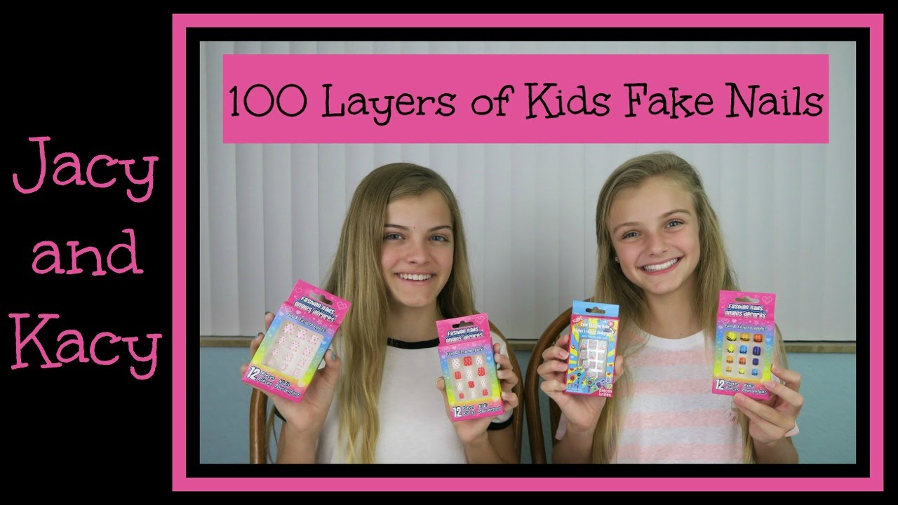 100 Layers of Kids Fake Nails ~ 100 Layers Challenge ~ Jacy and Kacy ...