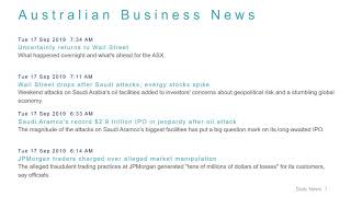 Business News Headlines for 17 Sep 2019 - 8 AM Edition
