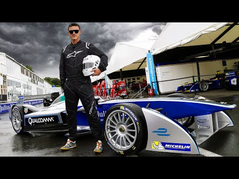 Luke Evans Driving A Formula E Car!