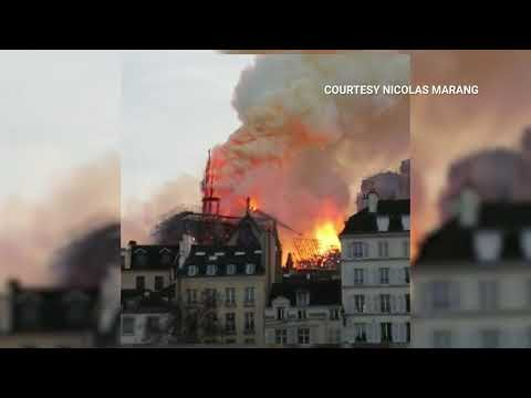 Notre Dame Fire: The Exact Moment The Historic Cathedral's Spire Collapses | NBC New York