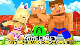 BABY HUGO LEARNS HOW TO SWIM w/ LITTLE DONNY- Baby Leah Minecraft Roleplay!
