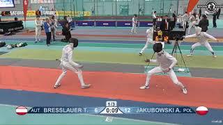 2018 1234 T128 M F Individual Halle GER European Cadet Circuit RED BRESSLAUER AUT vs JAKUBOWSKI POL