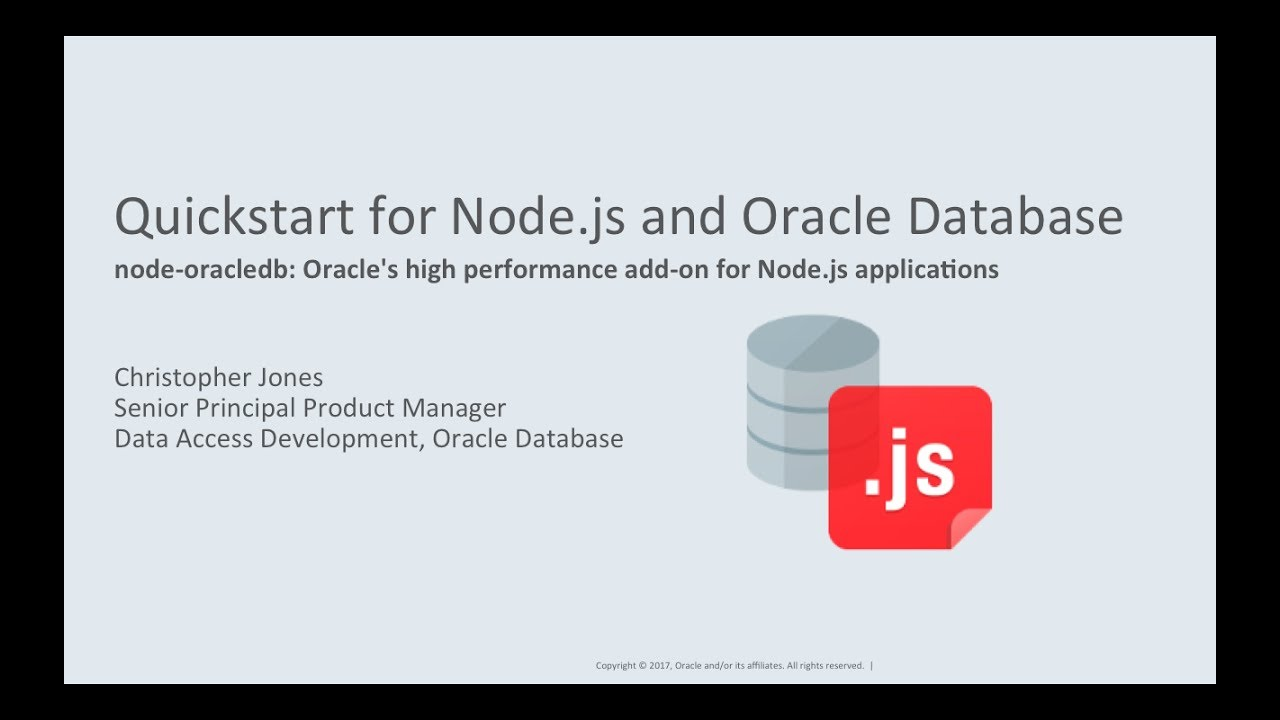 Quickstart for Node js and Oracle Database