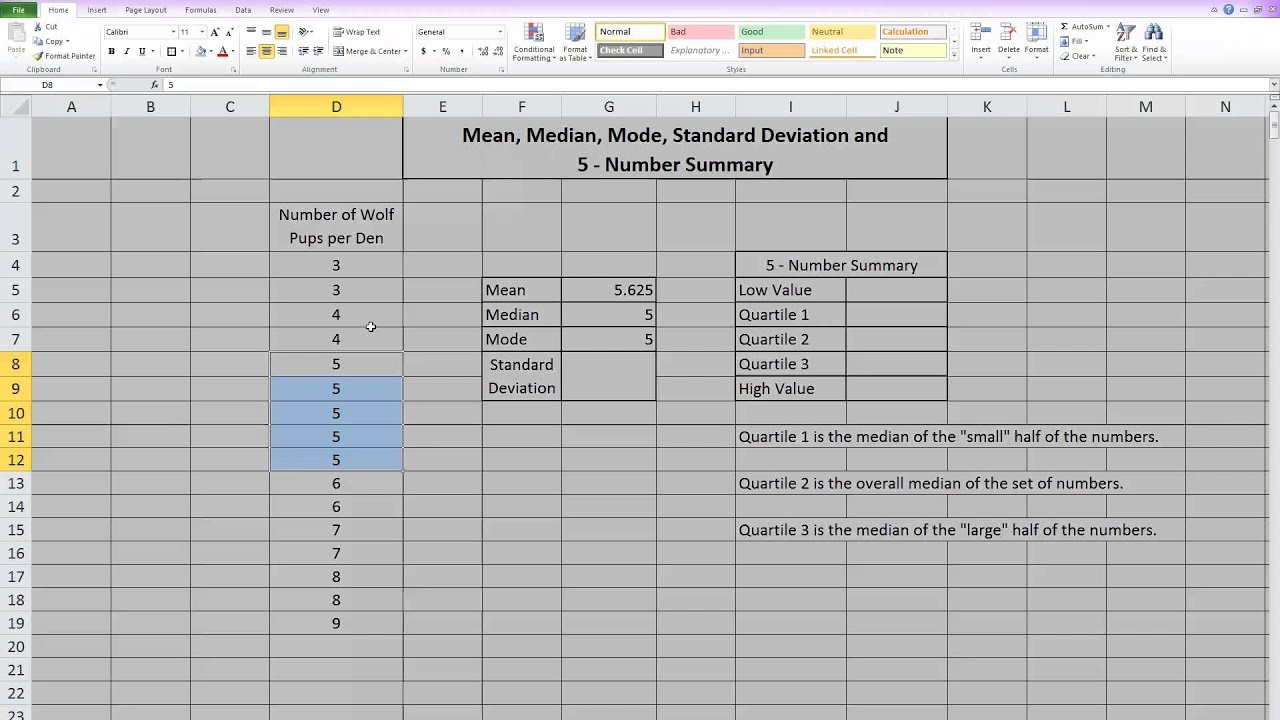 Mean Median Mode Standard Deviation And 5 Number Summary In Excel