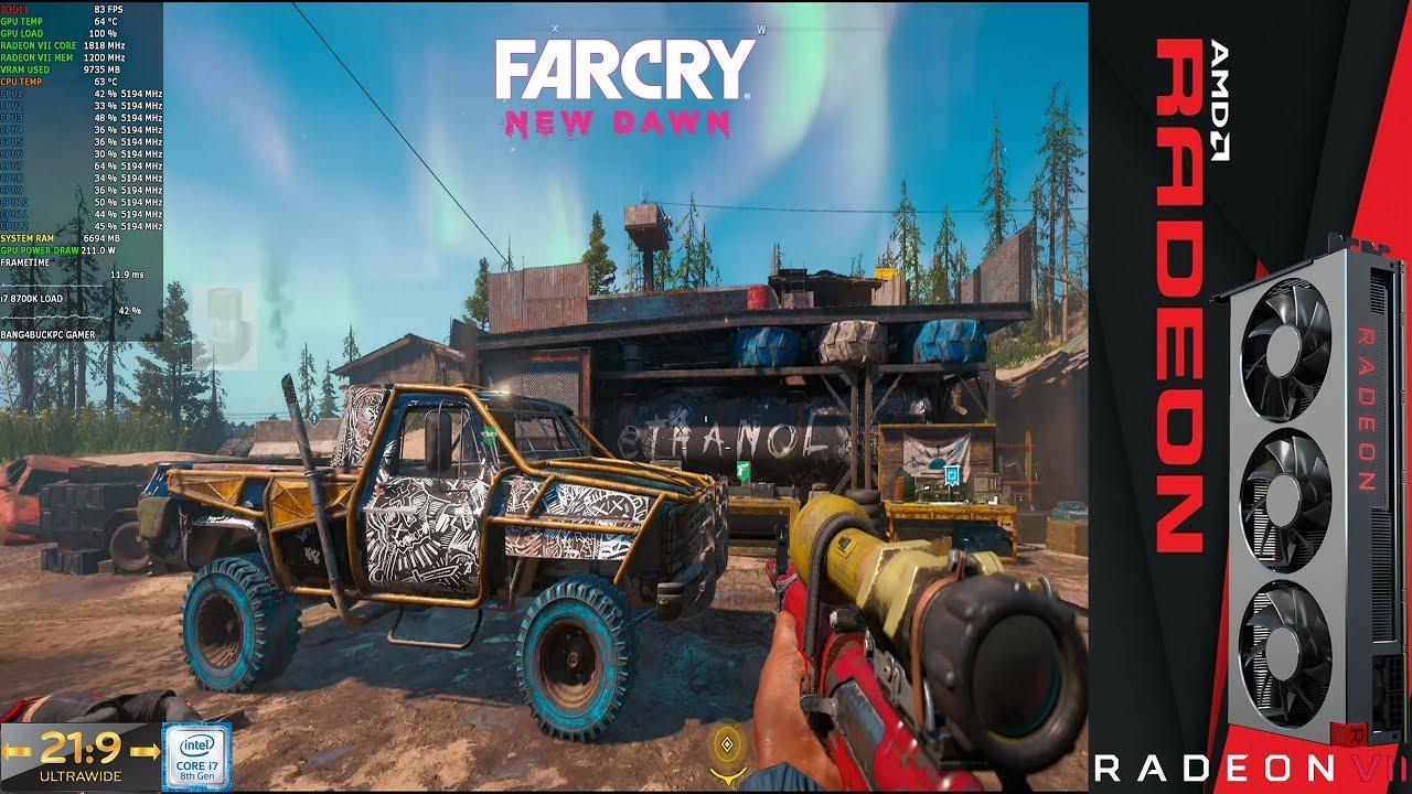 Far Cry New Dawn Ultra Settings + HD Textures 3440x1440 21:9   Radeon VII   i7 8700K 5.2GHz ...