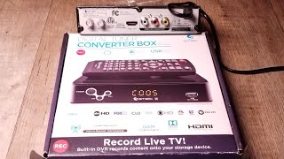 HOW TO SETUP A HD DIGITAL TUNER CONVERTER BOX WITH HDMI OUTPUT REVIEW | Record Live TV!