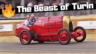 The Beast of Turin - 1911 Fiat s76 - HUGE FLAMES from its 28.4 Litre Engine! - Goodwood FOS 2018