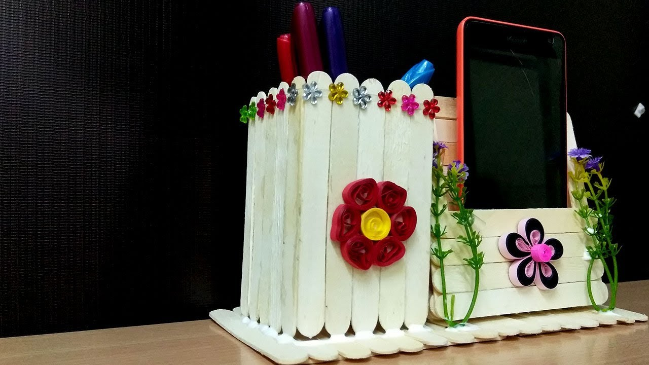 Pen Stand And Mobile Phone Holder With Icecream Sticks Diy Ideas