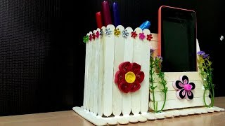 Pen stand and Mobile phone holder with icecream sticks | DIY Ideas - How to  Make  - Craft Videos