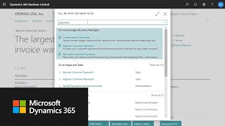 How to use the Tell Me feature in Dynamics 365 Business Central
