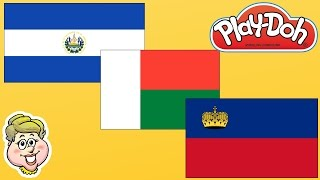 Play-Doh Flags! El Salvador, Madagascar, and Liechtenstein!  EWMJ #248
