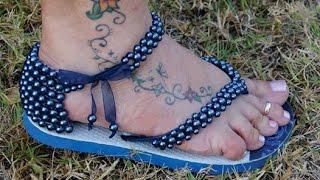 Como fazer sandália de perola em chinelo customizado!