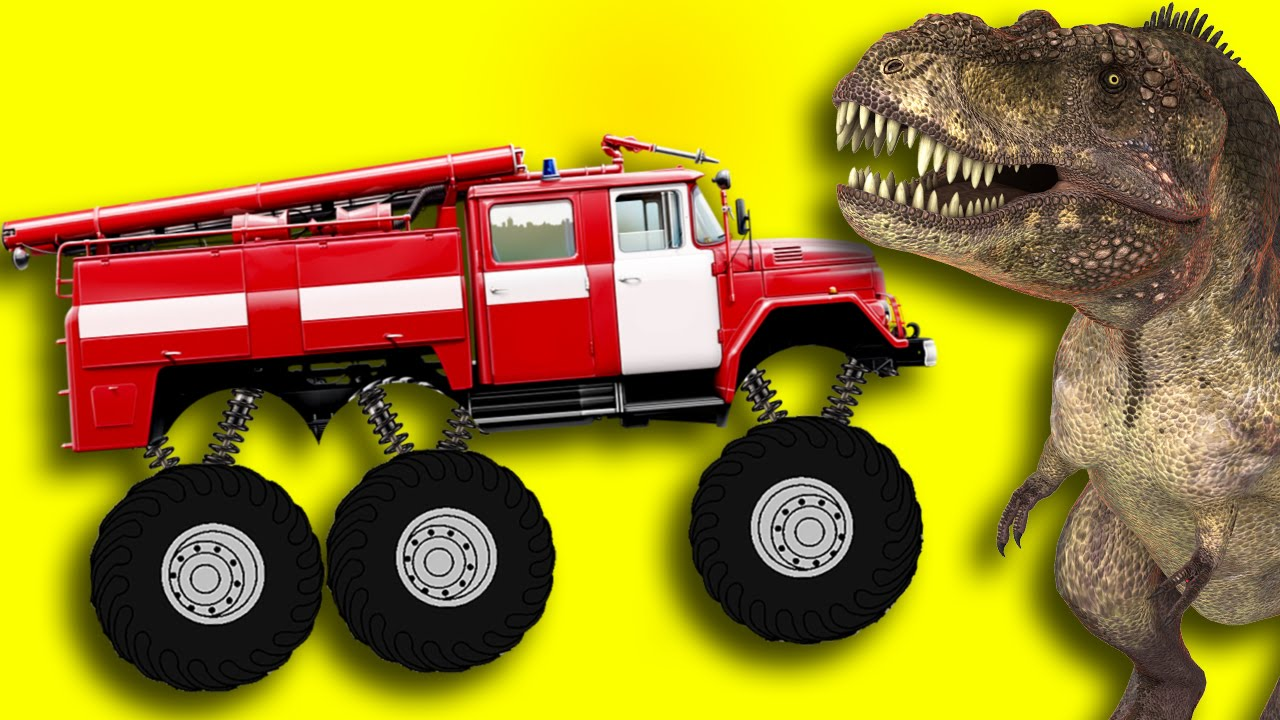Monster Fire Truck Vs Crazy Dinosaur Youtube