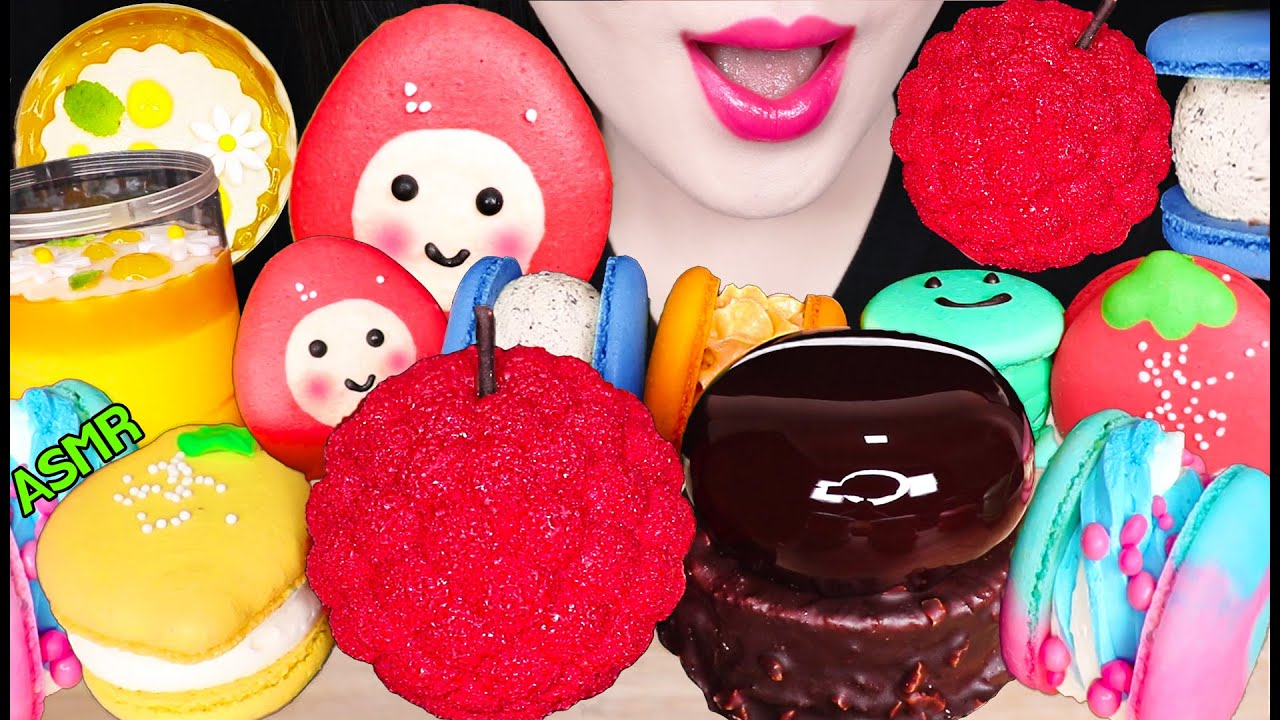 ASMR BIG BERRY, CHOCOLATE CAKE, MOUSSE CAKE, MACARON 빅베리 케이크, 초코 무스 케이크, 마카롱 먹방 EATING SOUNDS
