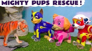 Paw Patrol Mighty Pups rescue funny Funlings and Animals with Flip A Zoo fun toys