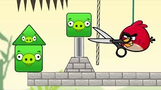 Angry Birds Pigs Out - CUT THE ROPE TO DROP SPIKE ON TRIANGLE AND SQUARE PIG!