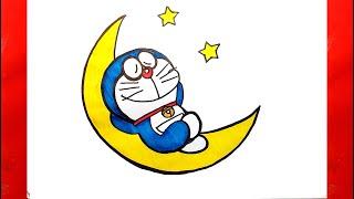 Vẽ Doremon trên mặt trăng - Vẽ Doremon dễ nhất - Cách vẽ Doremon - Vẽ tranh Doremon - Vẽ Doreamon