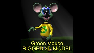 3D Model of Green Mouse RIGGED Review