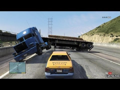 GTA 5 100 Tons Super Taxi Rampage #1 HD Grand Theft Auto 5