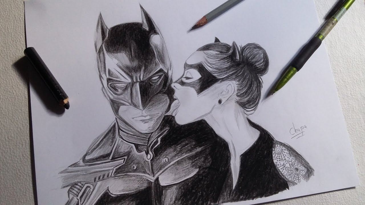 DIBUJO DE BATMAN Y GATUBELA/ DRAWING BATMAN AND CATWOMAN ...