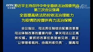 [中国新闻] 习近平主持召开中央全面依法治国委员会第三次会议强调 全面提高依法防控依法治理能力 为疫情防控提供有力法治保障 | CCTV中文国际