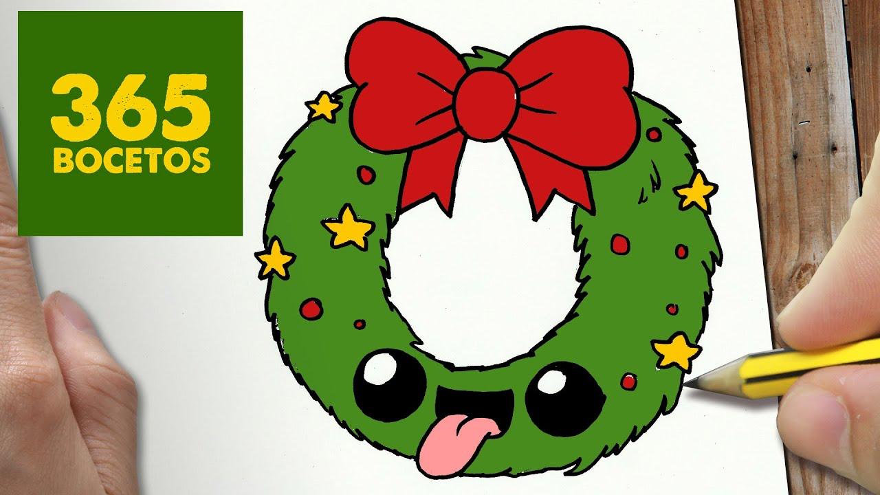 Como Dibujar Guirnalda Para Navidad Paso A Paso Dibujos Kawaii Navideños How To Draw A Garland