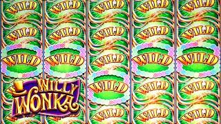 5 WILD REELS!!! BIG WIN on Willy Wonka Slot Machine Bonus Oompa Loompa Bonus