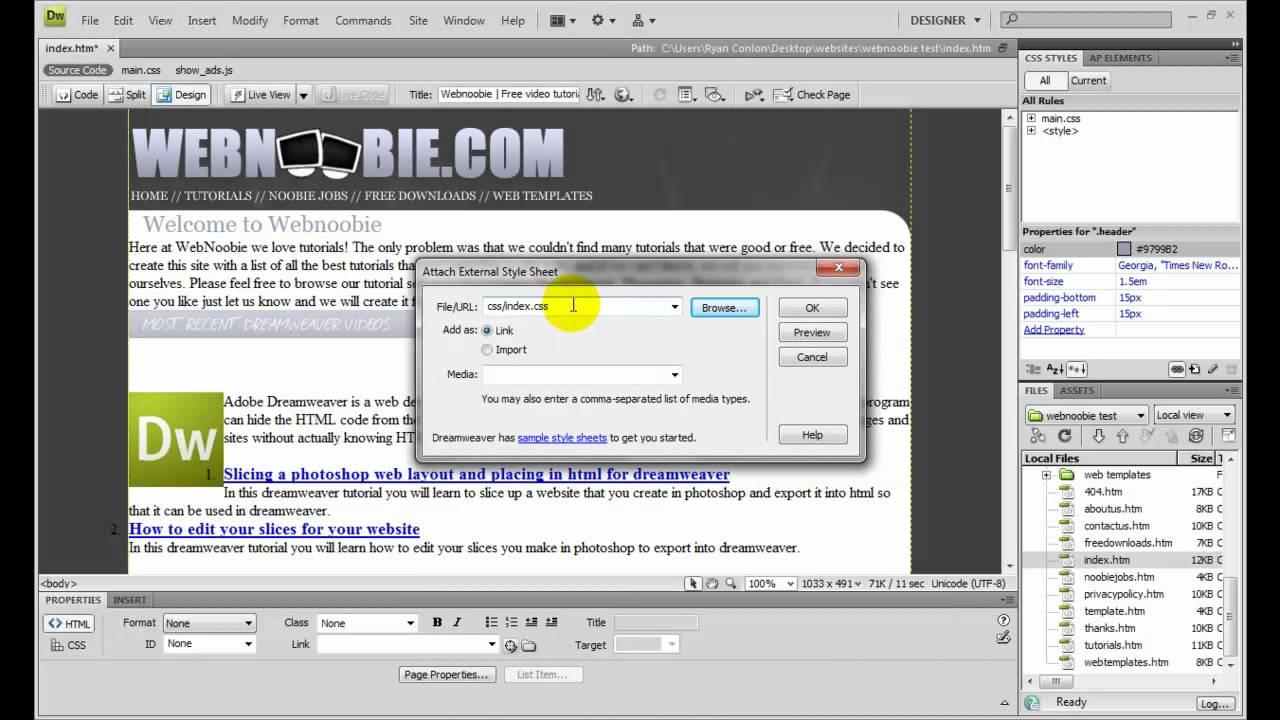 How to insert an external style sheet in Dreamweaver - YouTube