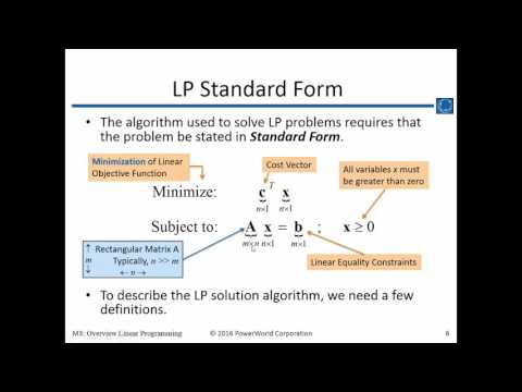 Training M3: Overview of Linear Programming