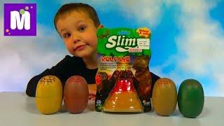 Динозавры игрушки в слизи в яйцах и вулкане Slimy dinosaur eggs toys and silly putty unboxing