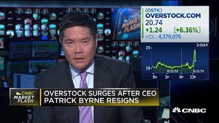 Overstock surges after CEO Patrick Byrne resigns following 'Deep State' comments Video