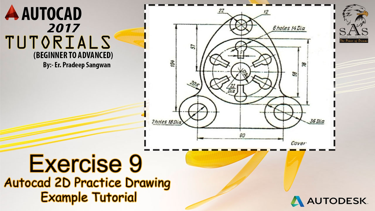 Autocad 2D Practice Drawing | Exercise 9 | Autocad Example