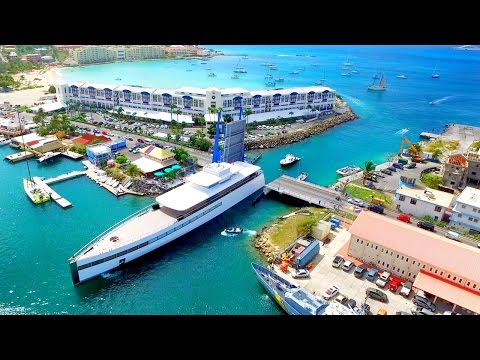 "Steve Job's MEGAYACHT ""VENUS"" ~ FULL 360 Aerial View ~ Simpson Bay Bridge, St Maarten, SXM"