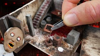 making grannys basement miniature house in polymer clay