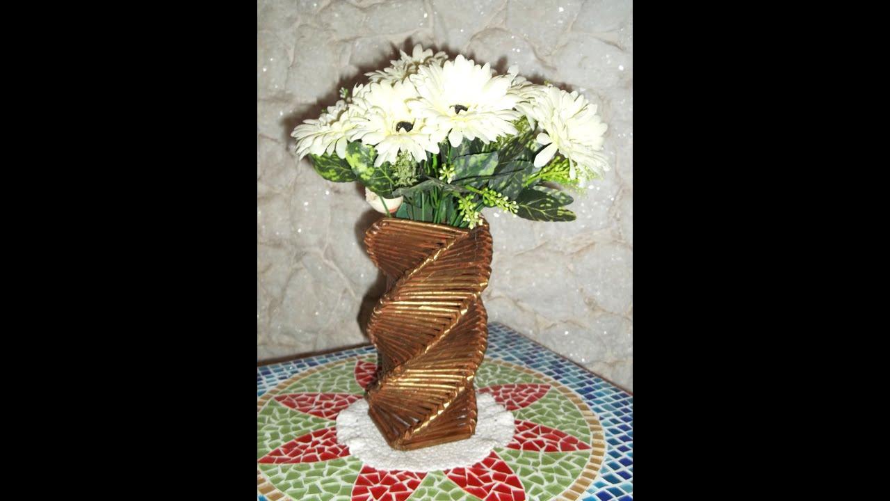 Artesanato Em Cobre Minas Gerais ~ Artesanato Vaso quadrado torcido feito com jornal e papel u00e3o YouTube