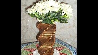 Artesanato: Vaso quadrado torcido feito com jornal e papelão por Hellen Mac