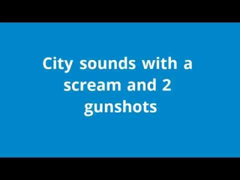 City Sounds With A Scream And 2 Gunshots