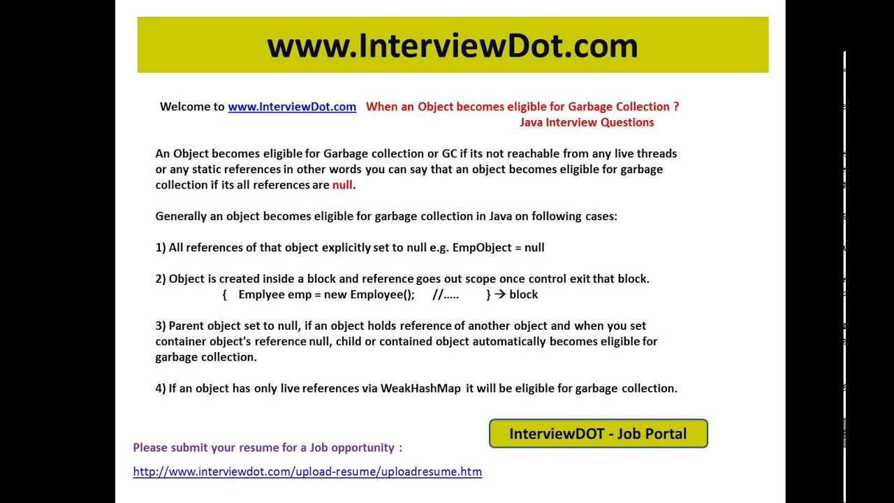 When An Object Is Eligible For Garbage Collection Interview Question